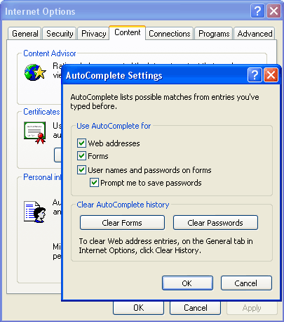 Internet Explorer AutoComplete settings